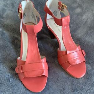 Nine West Pink Leather Rose Heels - NWATTHEPARTY